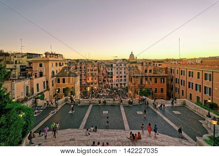 Tourists At Spanish Steps Of Square Of Spain In Rome