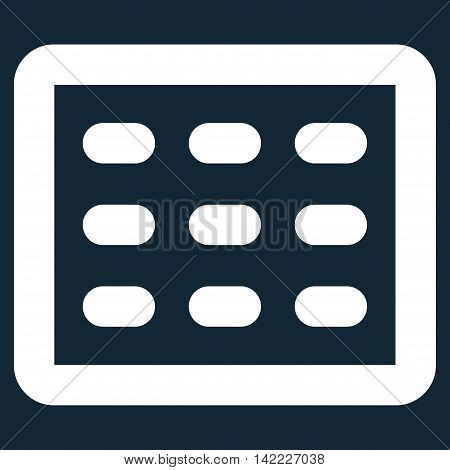 Table Grid vector icon. Style is stroke flat icon symbol, white color, dark blue background.