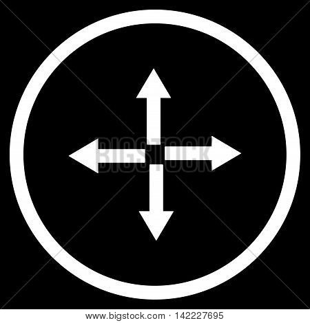 Expand Arrows vector icon. Style is flat rounded iconic symbol, expand arrows icon is drawn with white color on a black background.