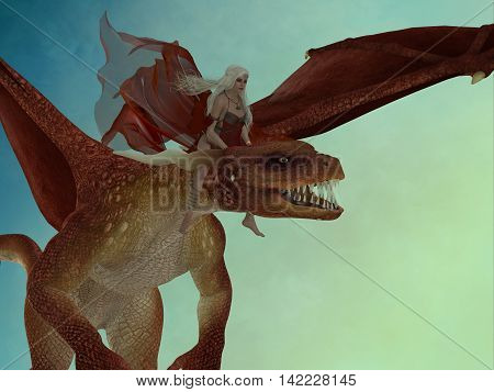 Fairy rides Dragon 3D Illustration - A beautiful fairy rides a fierce red dragon to a new destination in the magical forest.