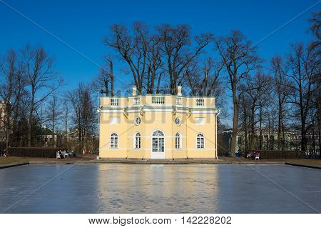 Bathhouse pavilion in Catherine park in Tsarskoe Selo near Saint Petersburg Russia