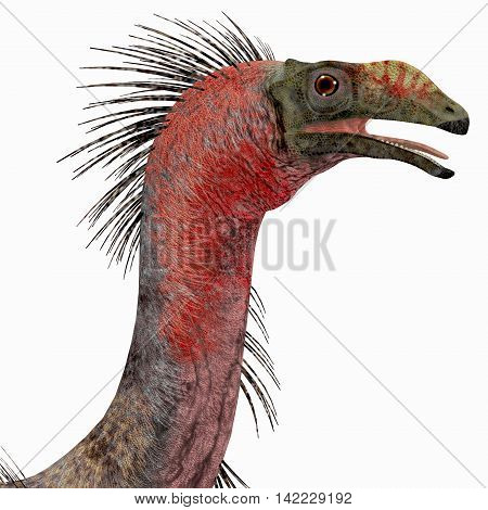 Therizinosaurus Dinosaur Head 3D Illustration - Therizinosaurus was a carnivorous theropod dinosaur that lived in the Cretaceous Period of Mongolia.