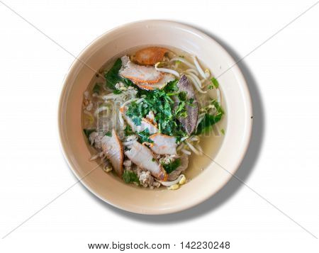 flavored flat noodles with pork isolate on white background.