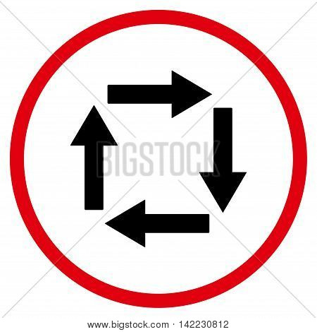 Circulation Arrows vector icon. Style is bicolor flat rounded iconic symbol, circulation arrows icon is drawn with intensive red and black colors on a white background.