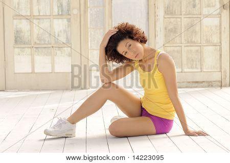 Fitness Model Sitting