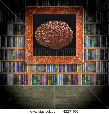 Brain in library room generated texture, 3D illustration
