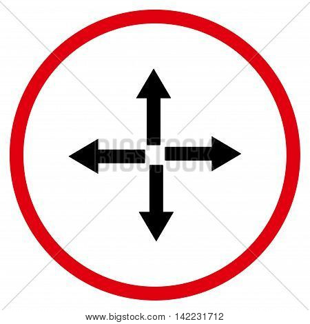 Expand Arrows vector icon. Style is bicolor flat rounded iconic symbol, expand arrows icon is drawn with intensive red and black colors on a white background.