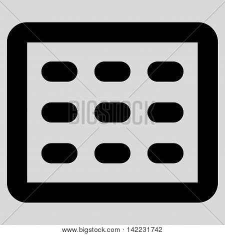 Table Grid vector icon. Style is linear flat icon symbol, black color, light gray background.