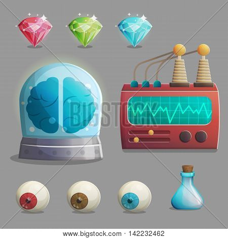 A collection of items for mad evil professor human experiment laboratory design. Canned brain, human eyeballs, lab equipment, gemstones and other spooky elements for game and app design.