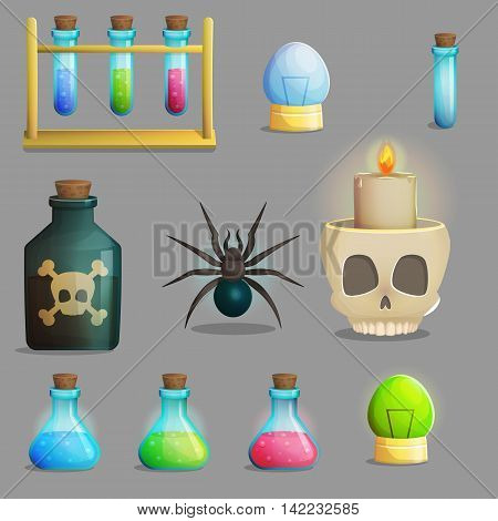 A collection of items for mad evil professor human experiment laboratory design. Test tubes, poison bottle, lab equipment, spider and other spooky elements for game and app design.