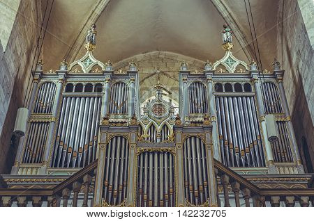 Alba Iulia Romania - July 24 2016: Neogothic organ of 2209 tubes built by Kolonics Istvan in 1877 in Saint Michael Cathedral the most important monument of Romanesque architecture in Transylvania.