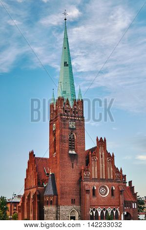 Tower neo-Gothic church in Legnica in Poland
