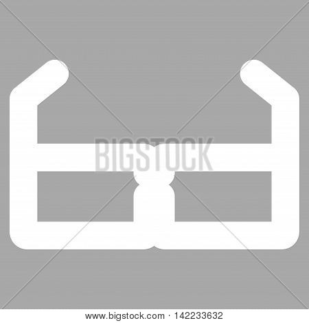 Spectacles vector icon. Style is stroke flat icon symbol, white color, silver background.
