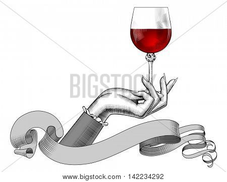 Women's hand holding a wine glass and ribbon isolated on white. Vintage engraving stylized drawing