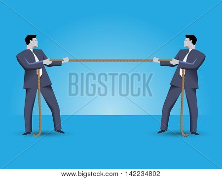 Fight for market share business concept. Two businessmen in suits standing against each other pulling a rope. Every businessman is trying to overcome his rival.