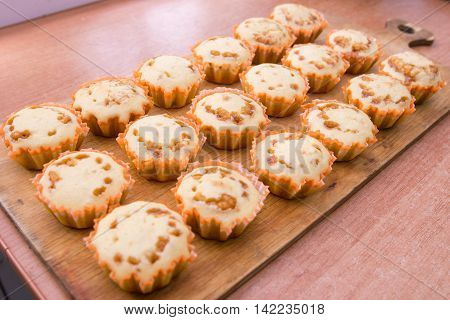 Eighteen Freshly Baked Muffins Stuffed With Boiled Condensed Milk