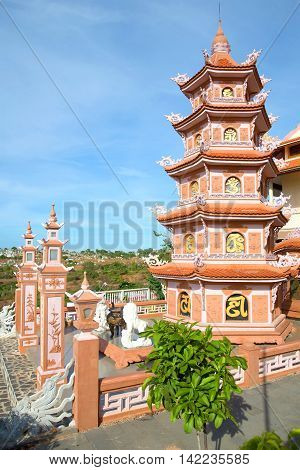 Multi-tiered pagoda in the Buddhist temple Chua Buu Son. Neighborhood of the city of Phan Thiet Vietnam