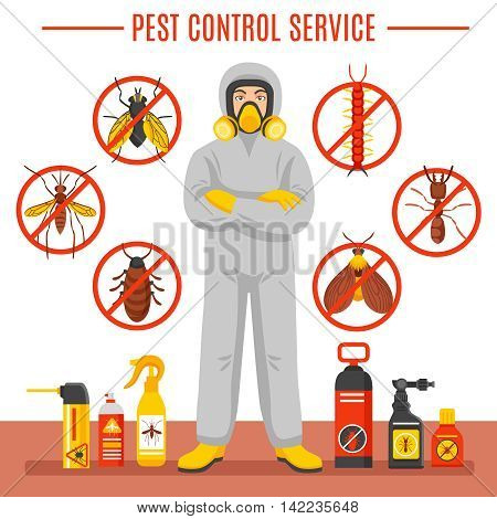Pest control service vector illustration with exterminator of insects in chemical protective suit termites and disinfection cans flat icons