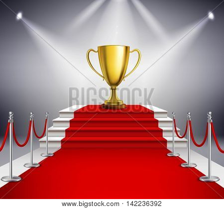 Golden trophy on white stairs covered with red carpet and illuminated by spotlight realistic vector illustration