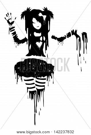 Abstract drawing girls from blots of paint in grunge style.Vector illustration