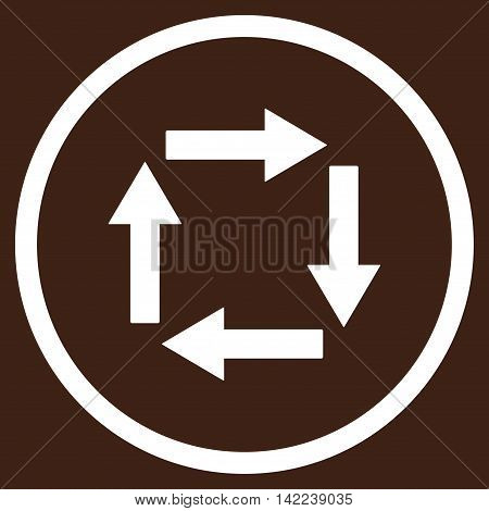 Circulation Arrows vector icon. Style is flat rounded iconic symbol, circulation arrows icon is drawn with white color on a brown background.