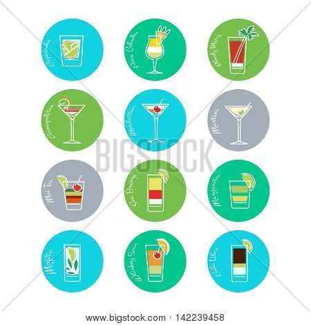 Flat drinks icons in curcles colorful set. Vector illustration