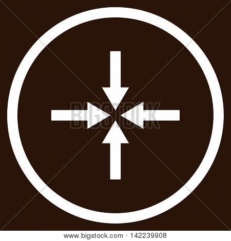 Impact Arrows vector icon. Style is flat rounded iconic symbol, impact arrows icon is drawn with white color on a brown background.