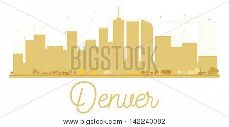 Denver City skyline golden silhouette. Vector illustration. Simple flat concept for tourism presentation, banner, placard or web site. Business travel concept. Cityscape with landmarks