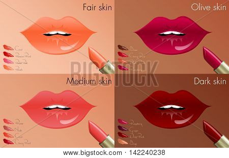 Lipstick colors for every skin tone, from fair to dark skin.