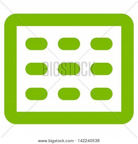 Table Grid vector icon. Style is contour flat icon symbol, eco green color, white background.