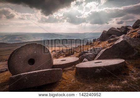 Millstones in the Peak District, England. Landscape.