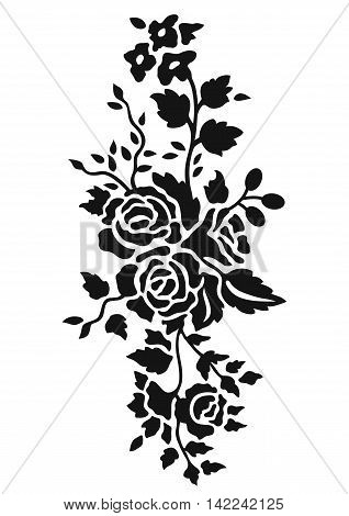 Black rose pattern, black rose ornament, blace rose flower, black rose petal, black rose growth, black rose image. Vector.