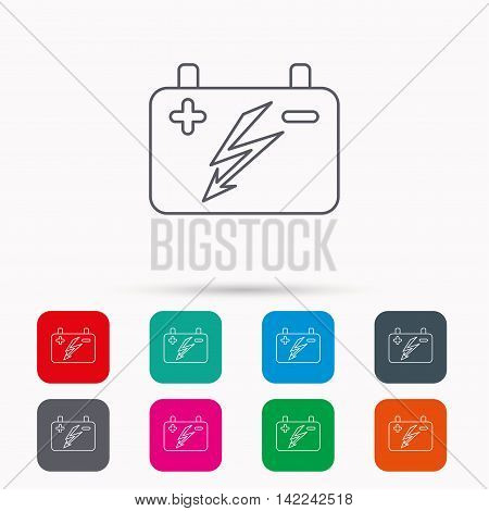 Accumulator icon. Electrical battery sign. Linear icons in squares on white background. Flat web symbols. Vector