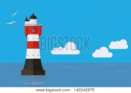 Roter Sand historic lighthouse in the Weser estuary vector illustration