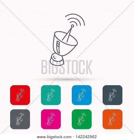 Antenna icon. Sputnik satellite sign. Radio signal symbol. Linear icons in squares on white background. Flat web symbols. Vector