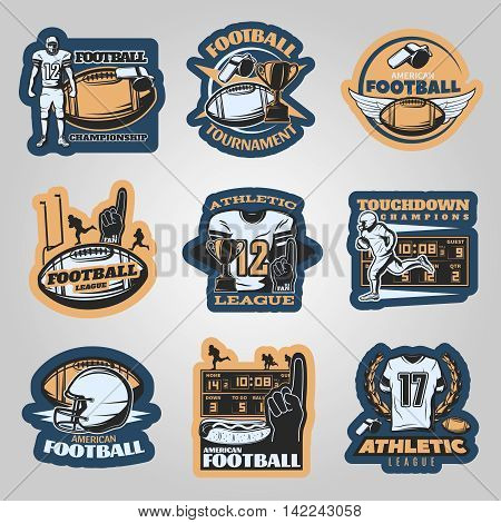 American football competitions emblems with running players foam hand sports equipment on grey background isolated vector illustration