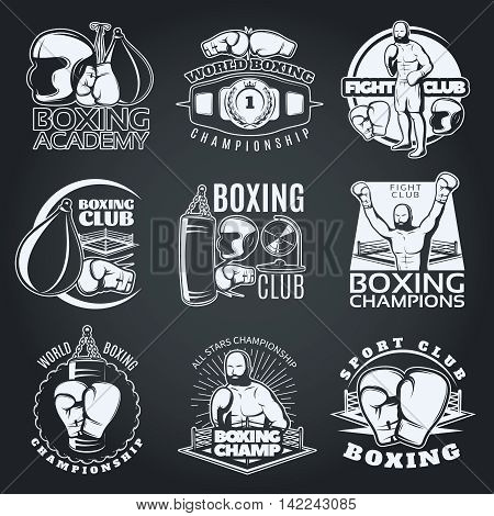 Boxing clubs and competitions monochrome emblems with sportsman gloves punching bags on black background isolated vector illustration
