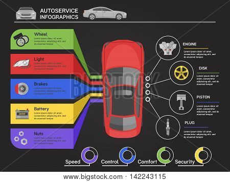 Auto service infographics with car of view from top machine details diagrams on black background vector illustration