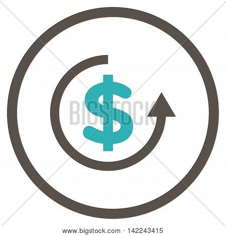 Refund vector icon. Style is bicolor flat rounded iconic symbol, refund icon is drawn with grey and cyan colors on a white background.