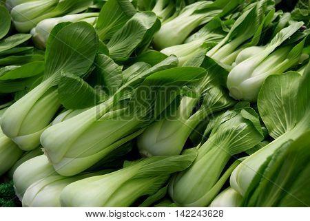 Fresh Pak choi cabbage in the city market of Birmingham