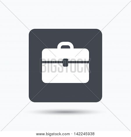 Briefcase icon. Diplomat handbag symbol. Business case sign. Gray square button with flat web icon. Vector