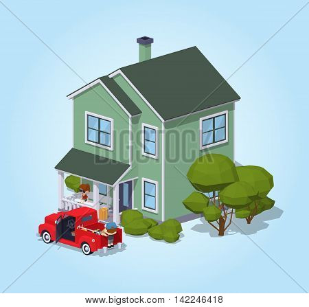 Suburban house against the blue background. 3D lowpoly isometric vector illustration