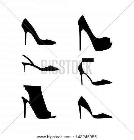 Shoes silhouettes icon set of fashion Footwear collection