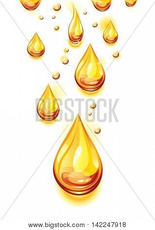 Orange juice background. Juice drops. Vector illustration.
