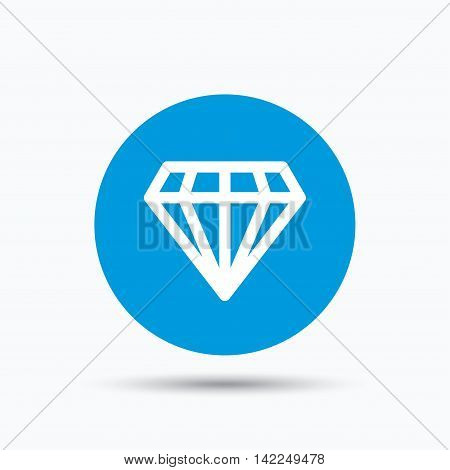 Diamond icon. Jewelry gem symbol. Brilliant jewel sign. Blue circle button with flat web icon. Vector