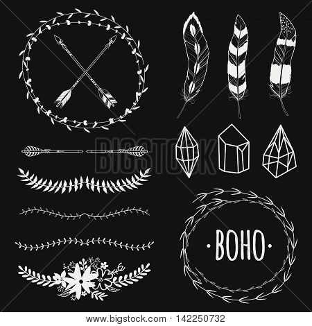 Vector ethnic black and white set with arrows feathers crystals floral frames borders. Modern romantic boho style. Templates for invitations scrapbooking. Hippie design elements.