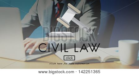 Civil Law Court Judge Justice Legal Fairness Gavel Concept