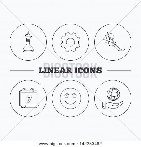 Save planet, slapstick and strategy icons. Smile linear sign. Flat cogwheel and calendar symbols. Linear icons in circle buttons. Vector