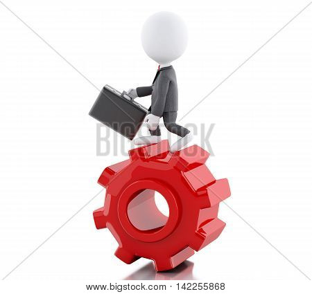 3d illustration. White people. Businessman with briefcase in gear wheel. Business concept. Isolated white background