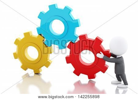 3d renderer image. White business people pushes a gear. Business concept. Isolated white background